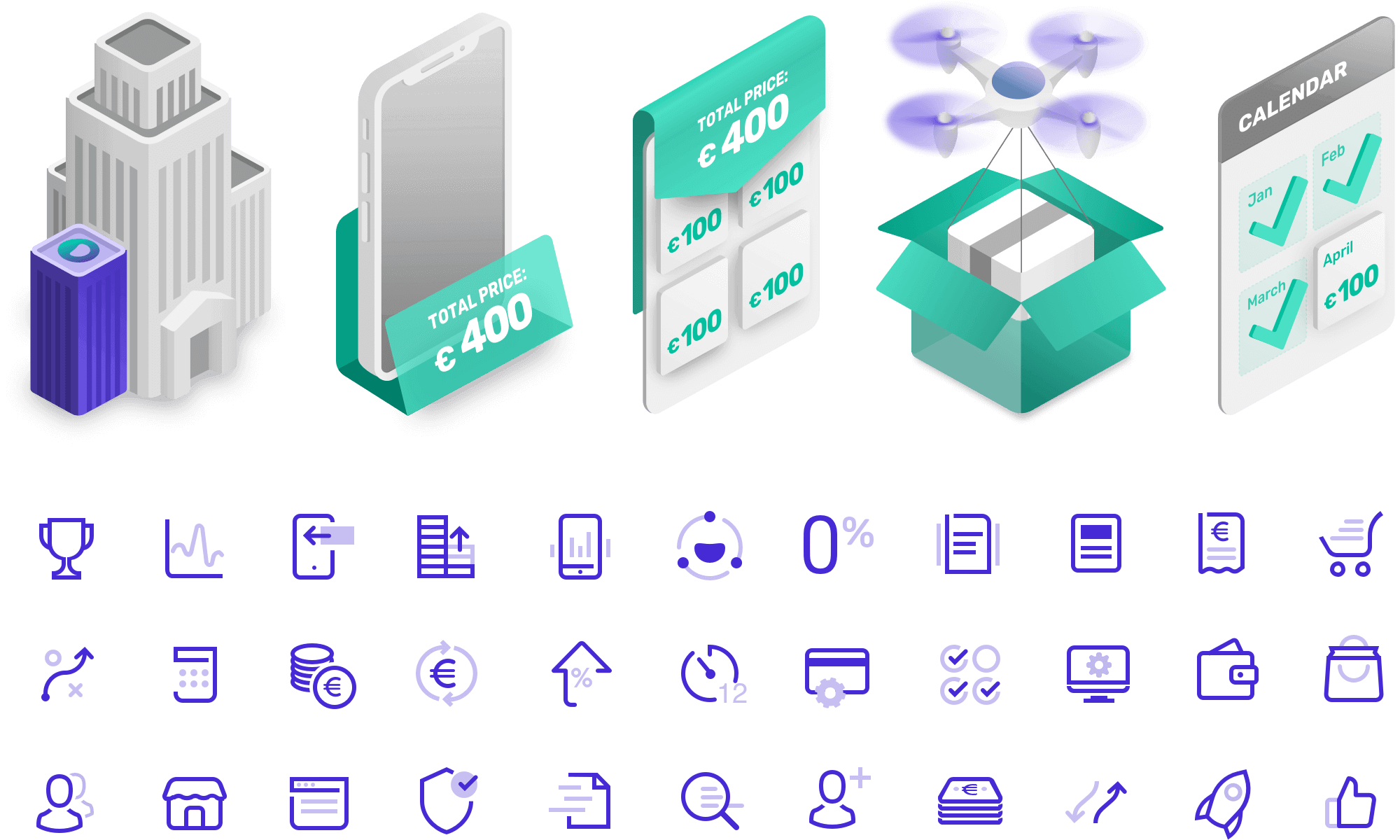 Isometric set of illustrations and icons created for Solfy website.