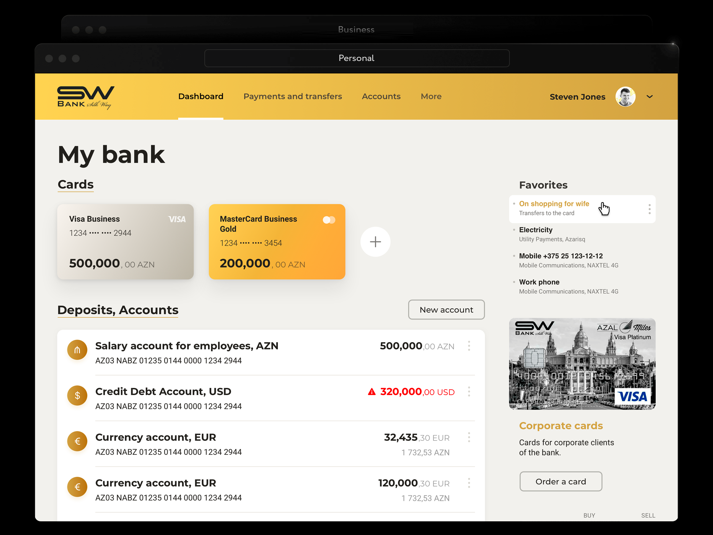 The main screen interface of Silkway Bank online banking for legal entities Focuses on the main things: invoices, documents , and popular payments.
